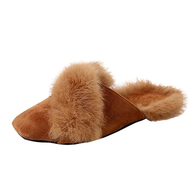 Zapatillas de Estar por casa ZARLLE Mujer Zapatillas Calientes Otoño Invierno Pantuflas De Interior Suave Deslizadores mullidos de Piel Zapatilla De Estar ...