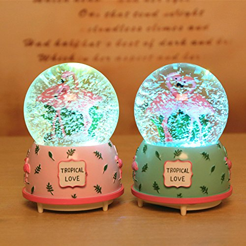 Qisheng Flamingo Musical Snow Globes(100mm Glass Ball) Music Boxes with Color Change Led Light The Best Gift for Valentines Day Qisheng ltd /並/行/輸/入/品