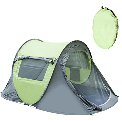 ANTIEE Pop Up Tent Automatic Pop Up Instant Portable Outdoors Quick Cabana Beach Tent Sun Shelter 2-3 Persons, Fishing Anti UV Beach Tent Beach Shelter(Dark Grey&Green)
