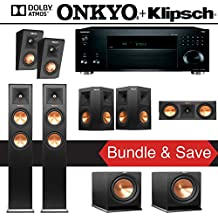 Klipsch RP-250F 5.2.2-Ch Reference Premiere Dolby Atmos Home Theater Speaker System with Onkyo TX-RZ820 7.2-Ch 4K Network AV Receiver