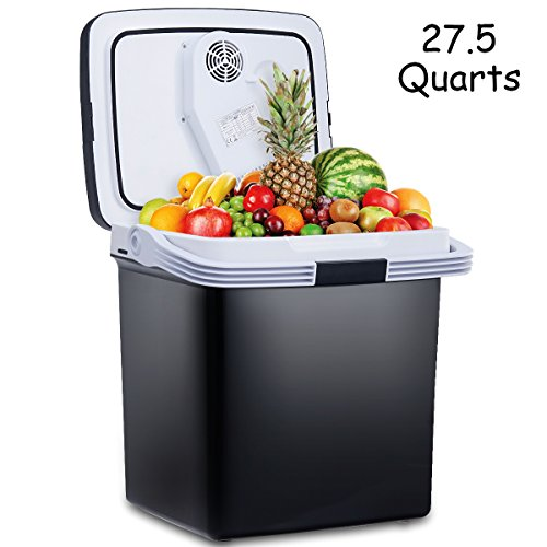 Costway Portable Fridge Cooler and Warmer 27.5 Quarts Electric Mini Thermoelectric Dual Cooling Warming Digital Plug In Refrigerator for Car, Travel, Beach, Office (Black) by COSTWAY
