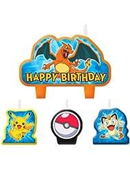 4 Piece Pokemon Pikachu & Friends Happy Birthday Cake Decoration Party Candles