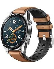 Huawei Watch GT Montre Connectée (GPS, boîtier 46mm) avec Bracelet Cuir Marron