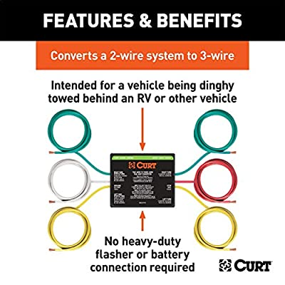 CURT 56196 2-to-3-Wire Splice-in Trailer Tail Light Converter for RV Dinghy Towing: Automotive