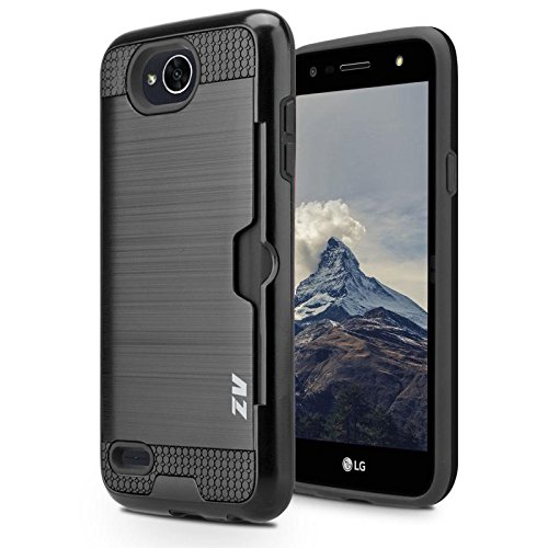 Cell Accessories For Less (TM) LG X Charge M327 - Metallic Hybrid Case Cover Credit Card Slot - Black Bundle (Stylus & Micro Cleaning Cloth) - By TheTargetBuys