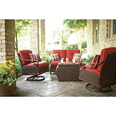 Patio Furniture Outdoor Lawn & Garden Martha Stewart Living Cedar Island All Weather Wicker 4 Pc With Dragon Fruit Cushions Red
