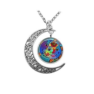 fecha de lanzamiento: diseño encantador precio competitivo JUN Colgante Colorido para Sol y Luna, Collar de Media ...