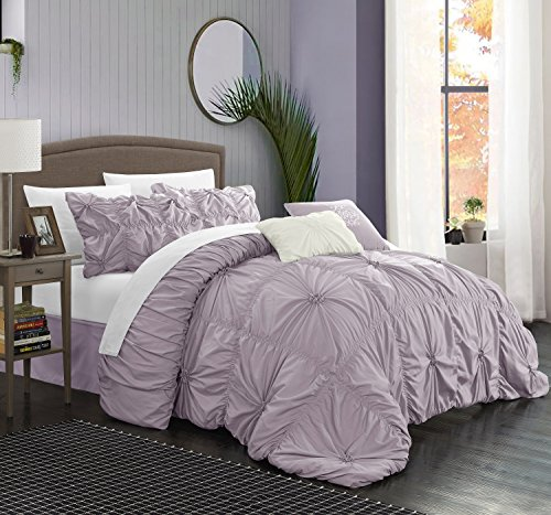 Halpert Floral Pinch Pleat Ruffled Designer Embellished Queen Comforter Set, 6-Piece, Lavender ()