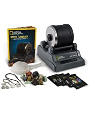 NATIONAL GEOGRAPHIC Hobby Rock Tumbler Kit - Rough Gemstones, 4 Polishing Grits, Jewellery Fastenings, Great STEM Science Kit for Geology Enthusiasts