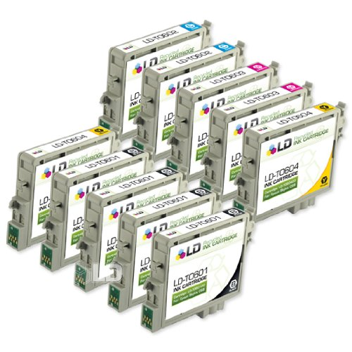 LD Products Remanufactured Ink Cartridge Replacement for Epson T060120 ( Black,Cyan,Magenta,Yellow,Light Cyan,Light Magenta , 10-pack ()