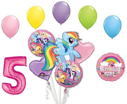 My Little Pony Rainbow Dash 5th Birthday Party Supplies 12 Piece Mylar & Latex Balloons Set Latex and Mylar Balloon Set -