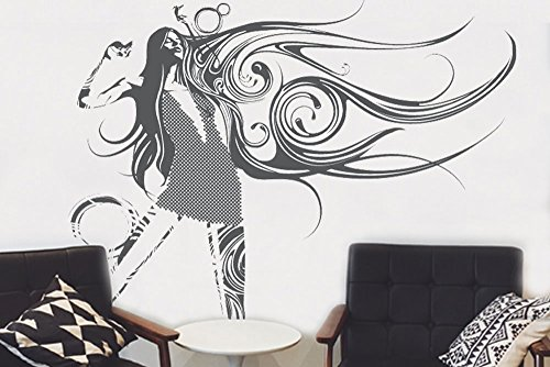 Surface Collective See Sound Wall Sticker and Mural Woman Salon, 98 x 24, Grey
