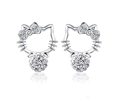 d67af3c64 Amazon.com: Cute Silver Hello Kitty stud Earrings Cubic Zircon Bow Cat  earrings For Girls Women White Gold Plated: Jewelry