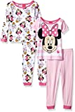 Disney Girls' minne Mouse 4-Piece Cotton Pajama Set, Sugarpie Pink, 18M