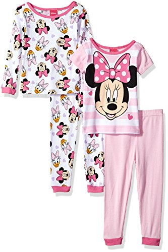 Disney Toddler Girls' minne Mouse 4-Piece Cotton Pajama Set, Sugarpie Pink, 4T