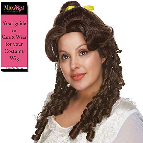 Belle Beauty Color Brown - Sepia Wigs Long Spiral Curls Yellow Ribbon Classic Princess Beast Synthetic Cosplay Halloween Dress Up Fancy Bundle MaxWigs Hairloss Booklet ()