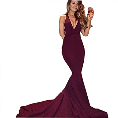 Fanciest Womens Halter Prom Dresses Long 2018 Mermaid Backless Evening Dress - Red - 30 Plus
