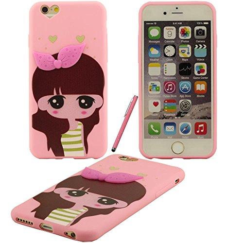 iPhone 6 plus caso, Hard Cover Custodia protettiva in plastica di nuovo disegno ragazza Motivo case per Apple iPhone 6S plus 5.5 inch con penna di tocco dello schermo dello stilo(rosa)