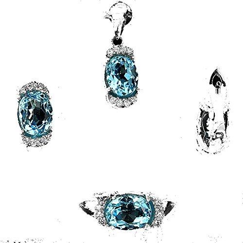 2f2a99f4123 Parure Topaze bleu Argent 925. Pendentif + chaine