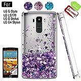 Atump LG G Stylo Phone Case with HD Screen Protector for Girls Women, Luxury Glitter Diamond Quicksand Clear TPU Protective Phone Case for LG G Stylo, LG G Vista-2, LG G4 Stylus LS770 Purple