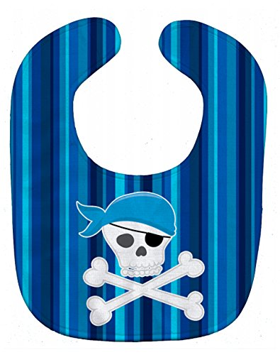 Caroline's Treasures Pirate Skull and Cross Bones Baby Bib, Blue, Large