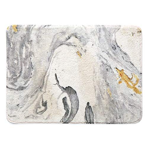 HAOCOO Bathroom Rugs 18x25 inch Beige Marble Velveteen Bath Mat Non-Slip Door Carpet Soft Luxury Microfiber Machine-Washable Floor Rug for Doormats Tub Shower (Bath Mat Patterned)