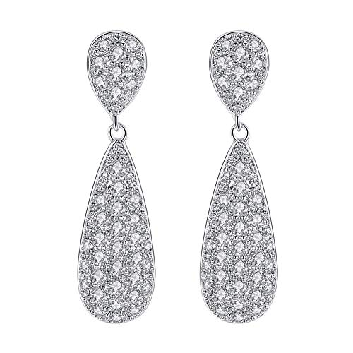 mecresh Silver Pave Cubic Zirconia Elegant Long Tear Drop Engagement Earrings Fine Wedding CZ jewelry