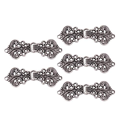 1 Elizabethan 1 Light - iEFiEL 5 Pairs Swirl Flower Cardigan Clip Sew on Fasteners Clasp Closure Buttons for Cape Cloak Sweater Light Black One Size