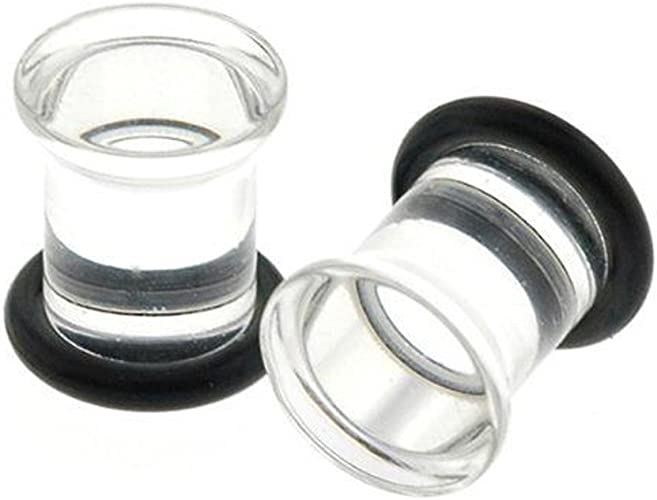 Glass plugs 6g blue transparent glass plug 6 gauge
