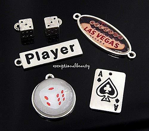 Lot 6 Las Vegas Nevada Souvenir Dice Card Player Gambling Gaming Bead Charms Set