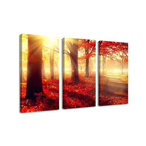 BIL-YOPIN 3 Panels Stretched Canvas Prints Beautiful Red Forest Landscape Modern wall art Paintings for Living Room and Bedroom …