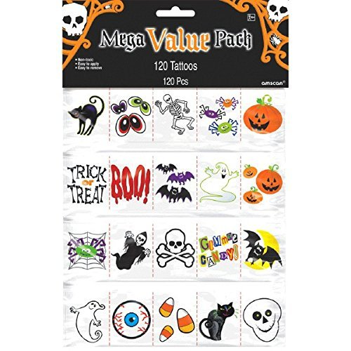 Amscan Halloween Icons Tattoos Party Supplies | Pack of 2 (240 Assorted Pieces) | Great as Trick-or-Treat Giveaways and Horror House Decoration -