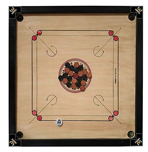 Webby Big Size Wooden Carrom Board with Wooden Coins & Striker, 32x32 Inch
