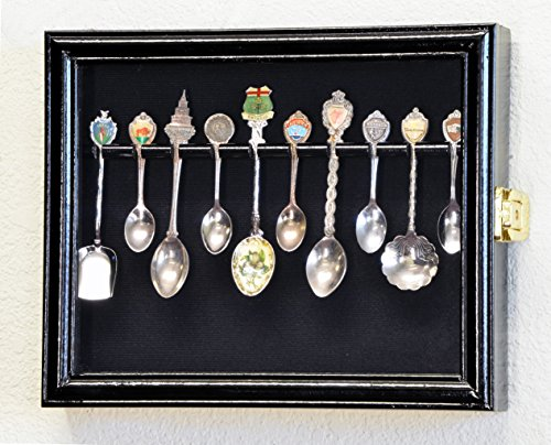 10 Spoon Display Case Cabinet Holder Rack Wall Mounted -Black Finish