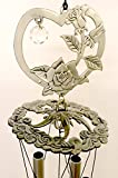 Heart Encased Roses Pewter Like Garden Wind Chime Mobile For Sale