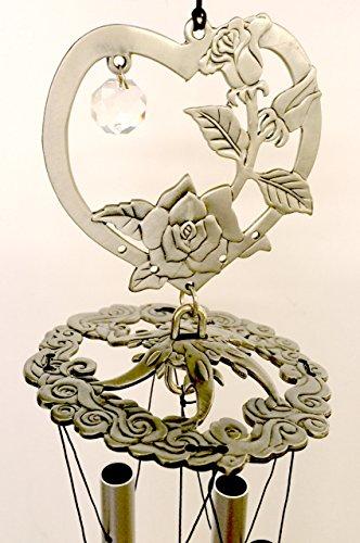 Heart Encased Roses Pewter Like Garden Wind Chime Mobile