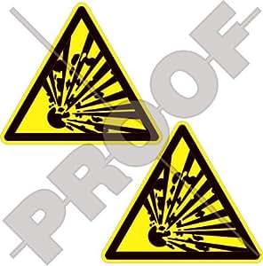 """EXPLOSIVO Advertencia Señal de Seguridad Explosión Peligro 3"""" (75mm) Pegatinas de Vinilo Adhesivos, Sticker, Calcomanias x2"""