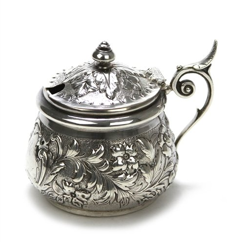 Mustard Pot by J. & K, Sterling, Repousse Design