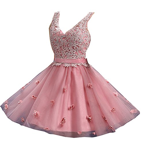 Pink Gürtel Damen Bud Organza emmani Schulter Seide Ballkleid von Ausschnitt V TvIIqw6a