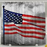 BINGO FLAG Funny Fabric Shower Curtain Memorial Day Waterproof Bathroom Decor With Hooks 60 X 72 Inch