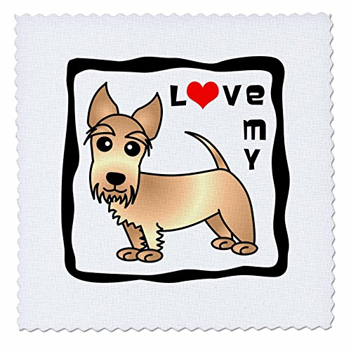- 3dRose qs_40877_2 I Love My Scottie Dog Wheaten Red Heart Quilt Square, 6 by 6-Inch