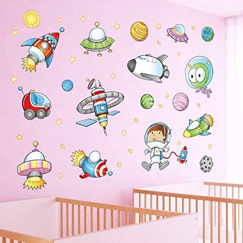Spaceship Sticker - Colourful Children's Cartoon Rocket Spaceship Alien UFO Wall Decals Stickers Kids Colorful Cartoon Spaceship Removable Wall Stickers for Kids Nursery Bedroom Living Room