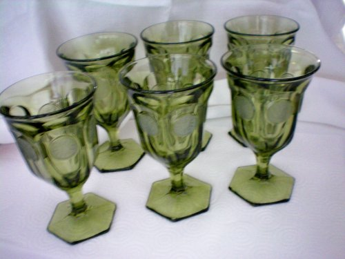 Fostoria Olive Green Coin Glass Set of 6 Footed 11 oz. Goblets - MINT
