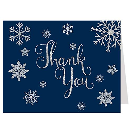 Bridal Shower Thank You Cards, Winter, Winter Thank You Cards, Here Comes The Bride, Wedding Shower, Navy, Silver, Navy Blue, Snowflakes, Snow, 50 Pack Folding Thank You Cards with White Envelopes
