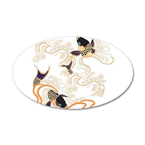 CafePress - Koi - Fish - Tattoo - Asian - Japanese - Decoratio - 20x12 Oval Wall Decal, Vinyl Wall Peel, Reusable Wall Cling