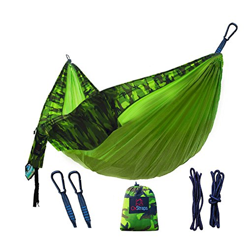 Camping-Hammock-Double-XL-Fun-For-the-Whole-Family-Easy-Sleeping-Kid-Friendly-Perfect-for-Boyscouts-Accessories-Include-Parachute-Hammocks-2-Rope-Straps-2-Carabiners-Portable-Pouch