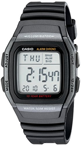 Casio Men's W96H-1BV Classic Sport Digital Black Watch 2nd Time Zone Black Dial