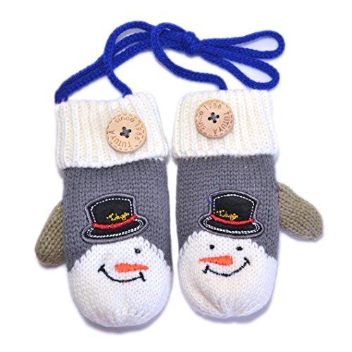 Handschuhe Longra, Baby Kinder junge Mädchen Weihnachten Schneemann Warmhalten gestrickte winter Handschuhe Fäustlinge (Grey)