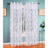 Cheap Window Elements Birch Leaf Embroidered Sheer Extra Wide 54 x 84 in. Grommet Curtain Panel, Silver/Charcoal