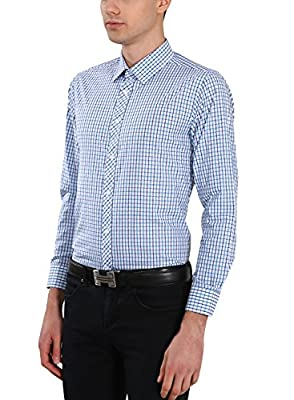 Yeokou Men's Business Casual Long Sleeve Gingham Button Down Shirt